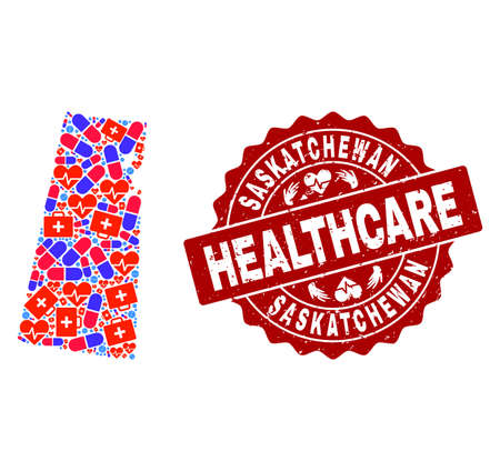 Healthcare combination of bright medical mosaic map of Saskatchewan Province and scratched seal. Vector red seal with scratched rubber texture and Healthcare caption.