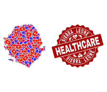 Healthcare collage of bright medical mosaic map of Sierra Leone and scratched seal stamp. Vector red seal with corroded rubber texture and Healthcare caption. 向量圖像