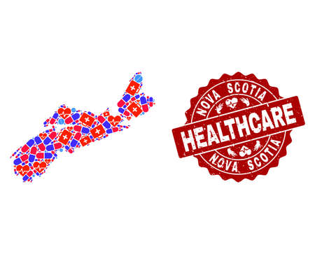 Healthcare collage of bright medical mosaic map of Nova Scotia Province and rubber seal stamp. Vector red seal with grunge rubber texture and Healthcare caption.