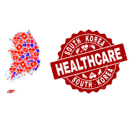 Healthcare combination of bright medical mosaic map of South Korea and textured seal. Vector red seal with corroded rubber texture and Healthcare caption.