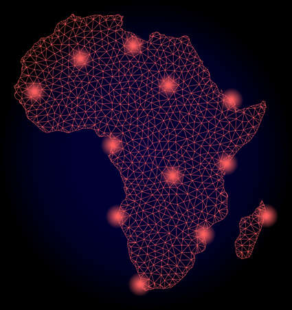 Mesh vector map of Africa with glare effect. Red abstract lines, light spots and points on a dark background with map of Africa. Иллюстрация