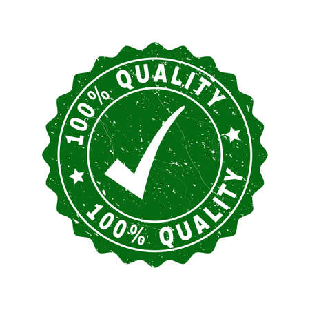Vector 100% Quality grunge stamp seal with tick inside. Green 100% Quality imprint with grainy style. Round rubber stamp imprint.