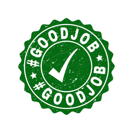 Vector #Goodjob grunge stamp seal with tick inside. Green #Goodjob imprint with grunge surface. Round rubber stamp imprint. Vectores