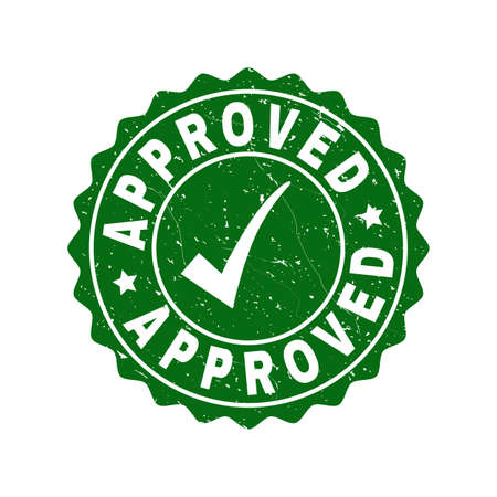 Vector Approved grunge stamp seal with tick inside. Green Approved mark with grunge surface. Round rubber stamp imprint.