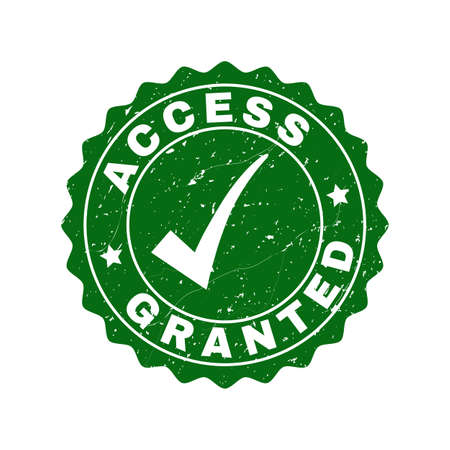 Vector Access Granted grunge stamp seal with tick inside. Green Access Granted label with grunge surface. Round rubber stamp imprint.