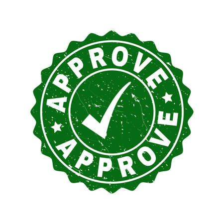 Vector Approve grunge stamp seal with tick inside. Green Approve label with grunge texture. Round rubber stamp imprint.