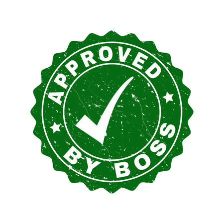 Vector Approved by Boss scratched stamp seal with tick inside. Green Approved by Boss watermark with grunge style. Round rubber stamp imprint.