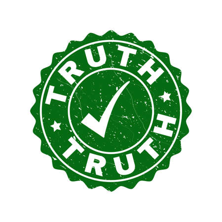 Vector Truth grunge stamp seal with tick inside. Green Truth imprint with grunge texture. Round rubber stamp imprint. Illustration