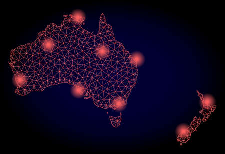 Mesh vector map of Australia and New Zealand with glare effect. Red abstract lines, light spots and points on a dark background with map of Australia and New Zealand. Illustration