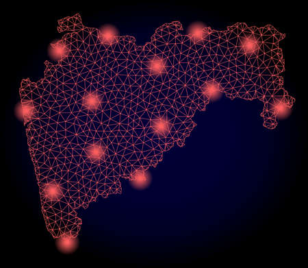 Mesh vector map of Maharashtra State with glare effect. Red abstract lines, light spots and points on a dark background with map of Maharashtra State.  イラスト・ベクター素材