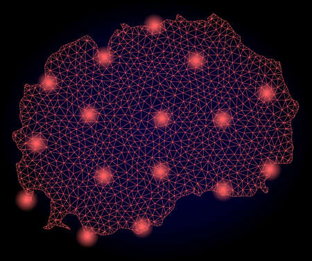 Mesh vector map of Macedonia with glare effect. Red abstract lines, light spots and points on a dark background with map of Macedonia.