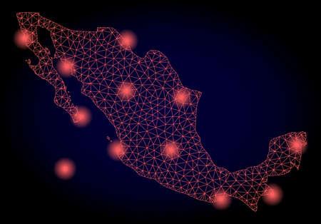 Mapa de vectores de malla de México con efecto deslumbrante. Líneas abstractas rojas, puntos claros y puntos sobre un fondo oscuro con mapa de México.