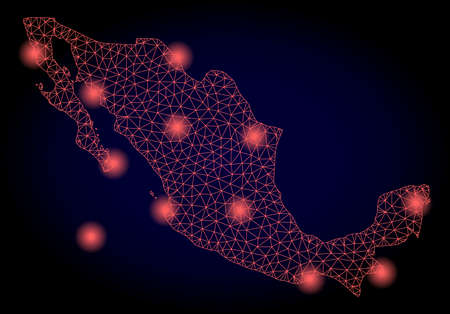 Mesh vector map of Mexico with glare effect. Red abstract lines, light spots and points on a dark background with map of Mexico. Иллюстрация