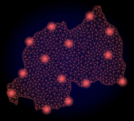 Mesh vector map of Rwanda with glare effect. Red abstract lines, light spots and points on a dark background with map of Rwanda.