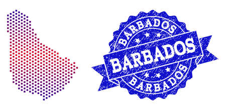 Geographic combination of dotted map of Barbados and grunge stamp. Mosaic vector map of Barbados composed with square dots and gradient from blue to red color. Flat design for political illustrations.