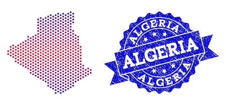Geographic collage of dotted map of Algeria and grunge seal. Mosaic vector map of Algeria created with square dots and gradient from blue to red color. Flat design for patriotic illustrations. Vectores
