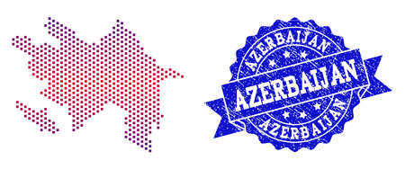 Geographic combination of dotted map of Azerbaijan and grunge seal stamp. Mosaic vector map of Azerbaijan composed with square dots and gradient from blue to red color.