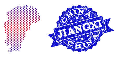 Geographic collage of dotted Map of Jiangxi Province and grunge seal stamp. Mosaic vector Map of Jiangxi Province composed with square dots and gradient from blue to red color.