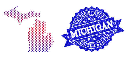Geographic collage of dotted map of Michigan State and grunge seal stamp. Mosaic vector map of Michigan State formed with square dots and gradient from blue to red color.