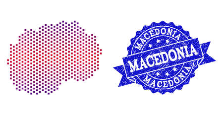Geographic composition of dotted map of Macedonia and grunge stamp. Mosaic vector map of Macedonia created with square dots and gradient from blue to red color. Flat design for political purposes. Standard-Bild - 113010117