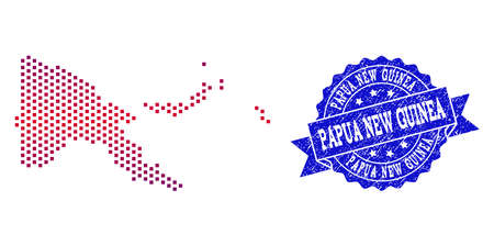 Geographic combination of dotted map of Papua New Guinea and grunge seal stamp. Mosaic vector map of Papua New Guinea designed with square dots and gradient from blue to red color.