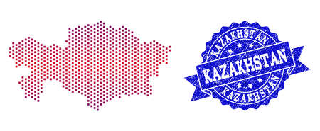 Geographic collage of dotted map of Kazakhstan and grunge stamp. Mosaic vector map of Kazakhstan created with square dots and gradient from blue to red color. Flat design for political illustrations.