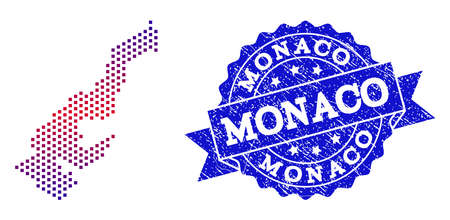 Geographic composition of dotted map of Monaco and grunge stamp. Mosaic vector map of Monaco formed with square dots and gradient from blue to red color. Flat design for patriotic purposes.