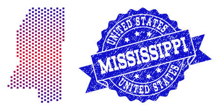 Geographic collage of dotted map of Mississippi State and grunge seal stamp. Mosaic vector map of Mississippi State composed with square dots and gradient from blue to red color. Illustration