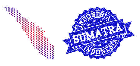 Geographic combination of dotted map of Sumatra Island and grunge seal stamp. Mosaic vector map of Sumatra Island designed with square dots and gradient from blue to red color. Stock Vector - 113019943