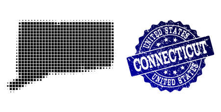 Geographic collage of dot map of Connecticut State and blue grunge seal imprint. Halftone vector map of Connecticut State created with rectangle points. Flat design for cartographic posters.  イラスト・ベクター素材