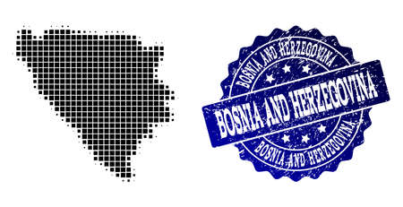 Geographic combination of dot map of Bosnia and Herzegovina and blue grunge seal watermark. Halftone vector map of Bosnia and Herzegovina created with rectangle dots.