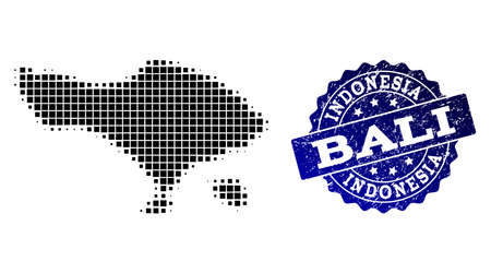 Geographic combination of dot map of Bali Island and blue grunge seal stamp watermark. Halftone vector map of Bali Island formed with square points. Flat design for political purposes.