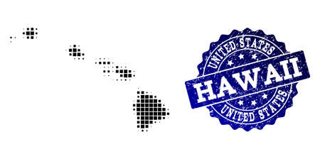 Geographic combination of dot map of Hawaii State and blue grunge seal imprint. Halftone vector map of Hawaii State created with rectangular mosaic items. Flat design for political posters. Illustration