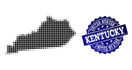 Geographic collage of dot map of Kentucky State and blue grunge seal stamp imprint. Halftone vector map of Kentucky State created with rectangle mosaic items. Flat design for political illustrations. Illustration