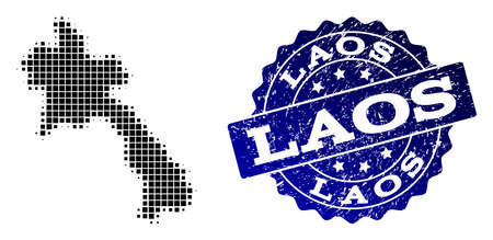 Geographic combination of dot map of Laos and blue grunge seal imprint. Halftone vector map of Laos formed with square mosaic items. Flat design for political illustrations.