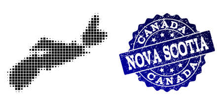 Geographic collage of dot map of Nova Scotia Province and blue grunge stamp imprint. Halftone vector map of Nova Scotia Province formed with square points. Flat design for political purposes. Illustration