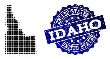 Geographic collage of dot map of Idaho State and blue grunge seal stamp imprint. Halftone vector map of Idaho State created with rectangular elements. Flat design for cartographic posters.  イラスト・ベクター素材