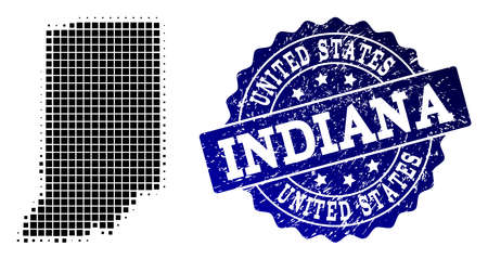 Geographic collage of dot map of Indiana State and blue grunge seal stamp imprint. Halftone vector map of Indiana State composed with rectangular points. Flat design for patriotic purposes.
