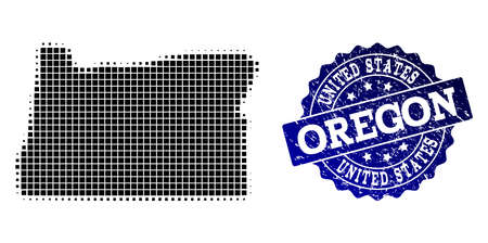 Geographic combination of dot map of Oregon State and blue grunge stamp imprint. Halftone vector map of Oregon State created with rectangle points. Flat design for patriotic posters.