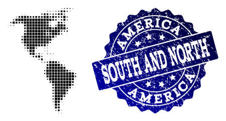 Geographic composition of dot map of South and North America and blue grunge seal watermark. Halftone vector map of South and North America designed with square points.