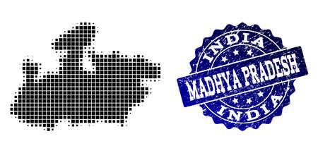 Geographic combination of dot map of Madhya Pradesh State and blue grunge stamp imprint. Halftone vector map of Madhya Pradesh State designed with rectangular dots.