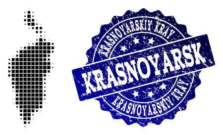 Geographic composition of dot map of Krasnoyarskiy Kray and blue grunge stamp watermark. Halftone vector map of Krasnoyarskiy Kray composed with rectangle mosaic items.