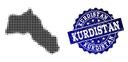 Geographic composition of dot map of Kurdistan and blue grunge seal imprint. Halftone vector map of Kurdistan created with rectangle dots. Flat design for patriotic posters.