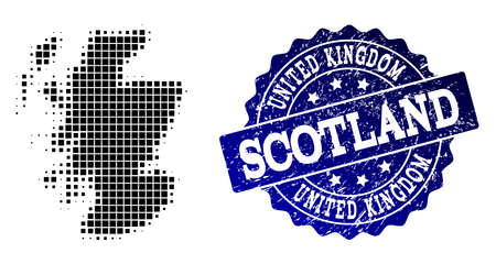 Geographic combination of dot map of Scotland and blue grunge seal imprint. Halftone vector map of Scotland created with rectangle dots. Flat design for patriotic posters. Illustration