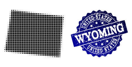 Geographic combination of dot map of Wyoming State and blue grunge stamp imprint. Halftone vector map of Wyoming State formed with rectangular elements. Flat design for patriotic illustrations.