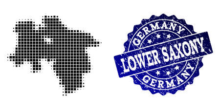 Geographic composition of dot map of Lower Saxony State and blue grunge stamp watermark. Halftone vector map of Lower Saxony State created with square points.