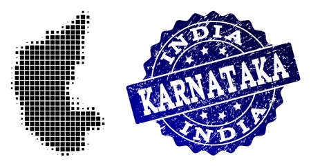 Geographic combination of dot map of Karnataka State and blue grunge stamp imprint. Halftone vector map of Karnataka State designed with rectangular dots. Flat design for political posters.