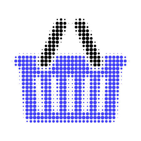 Shopping basket halftone dotted icon. Halftone pattern contains round points. Vector illustration of shopping basket icon on a white background.