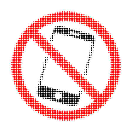 Forbidden smartphone halftone dotted icon. Halftone array contains circle points. Vector illustration of forbidden smartphone icon on a white background.