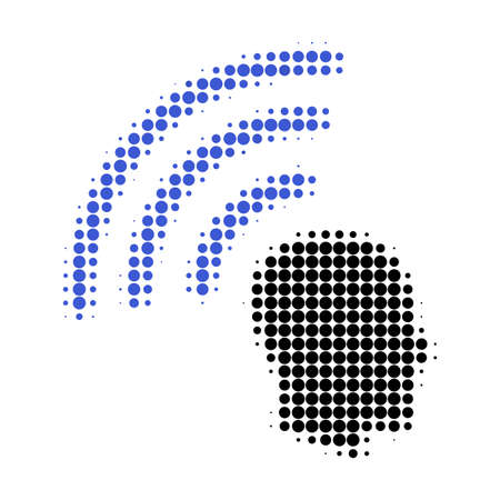 Telepathy waves halftone dotted icon. Halftone array contains circle points. Vector illustration of telepathy waves icon on a white background.